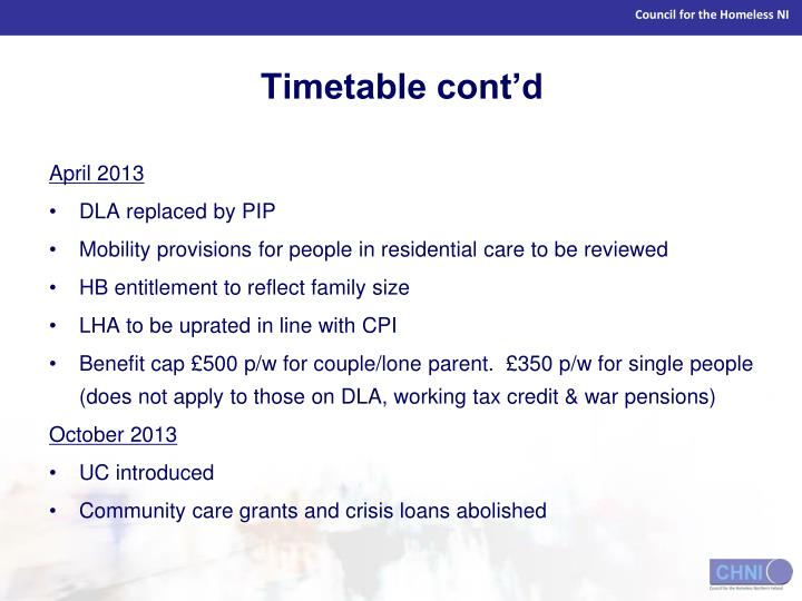 Timetable cont'd