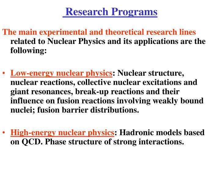 Research Programs