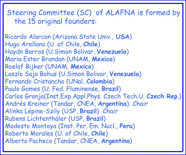 Steering Committee (SC)  of ALAFNA is formed by the 15 original founders