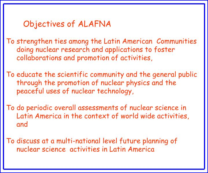 Objectives of ALAFNA