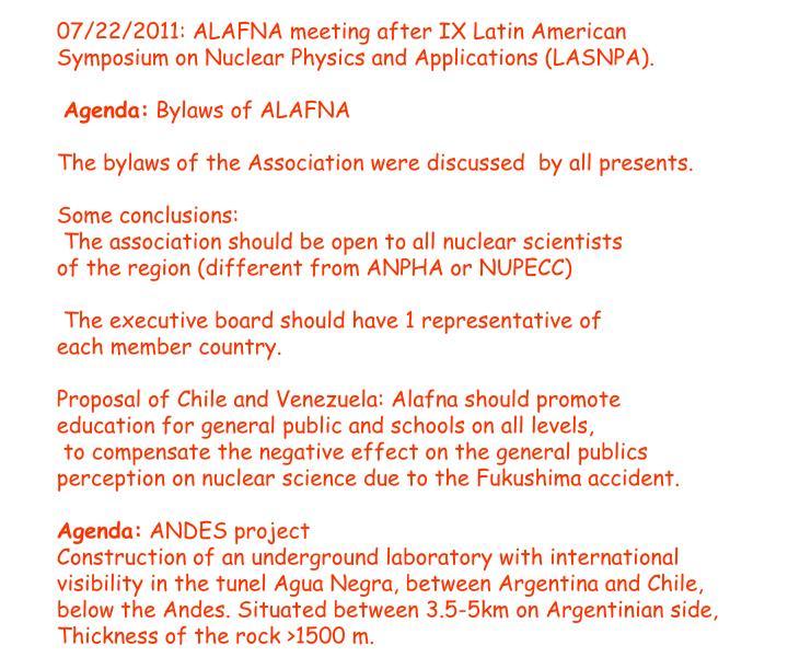 07/22/2011: ALAFNA meeting after IX Latin American