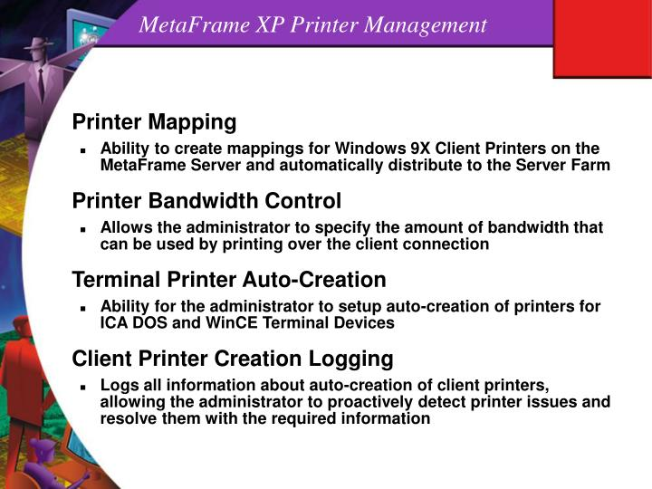 MetaFrame XP Printer Management