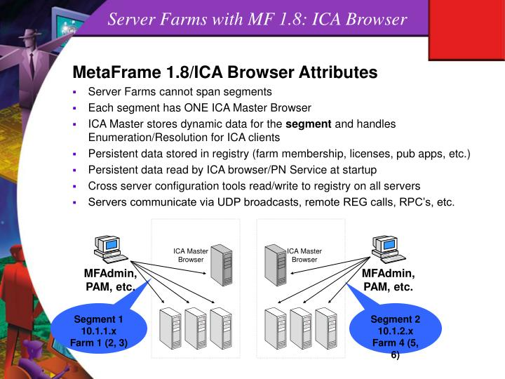 Server Farms with MF 1.8: ICA Browser
