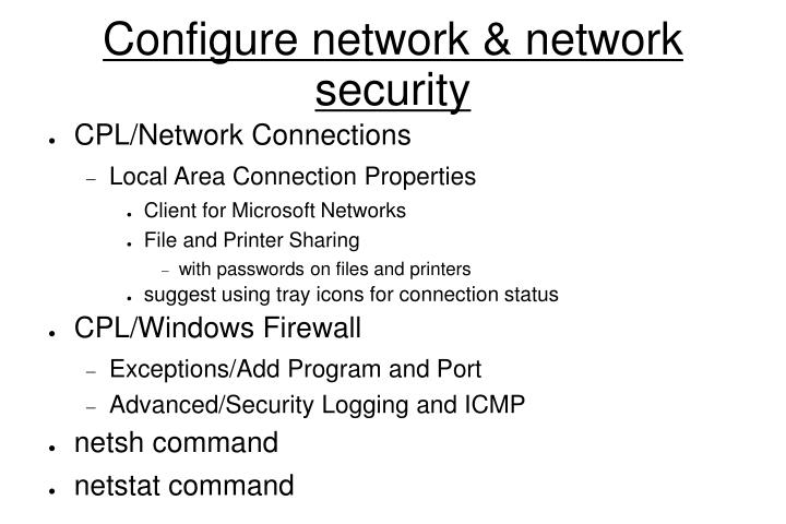 Configure network & network security