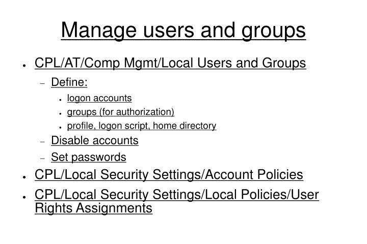Manage users and groups