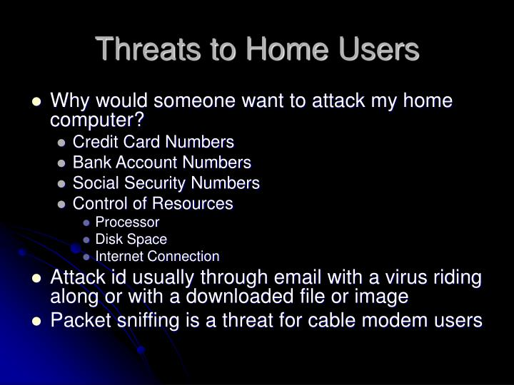 Threats to Home Users