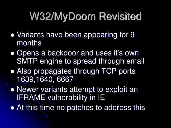 W32/MyDoom Revisited