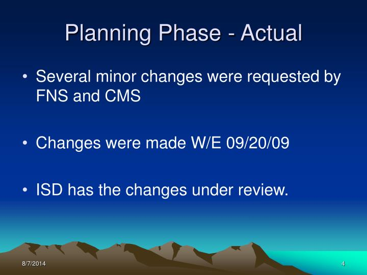 Planning Phase - Actual