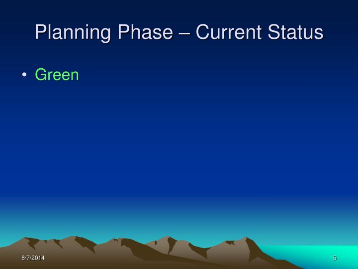 Planning Phase – Current Status