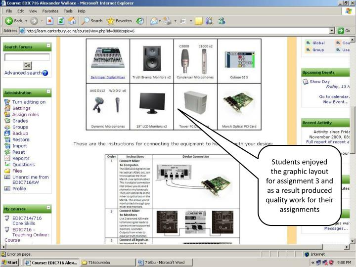 Students enjoyed the graphic layout for assignment 3 and as a result produced quality work for their assignments
