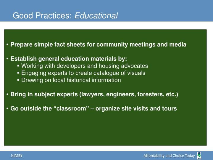 Good Practices: