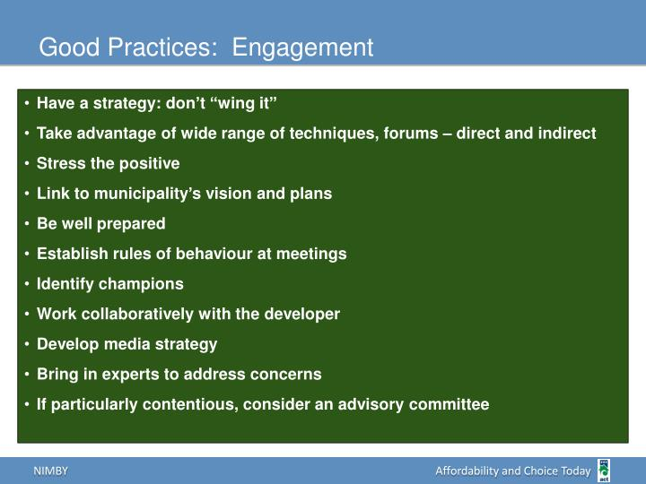Good Practices:  Engagement