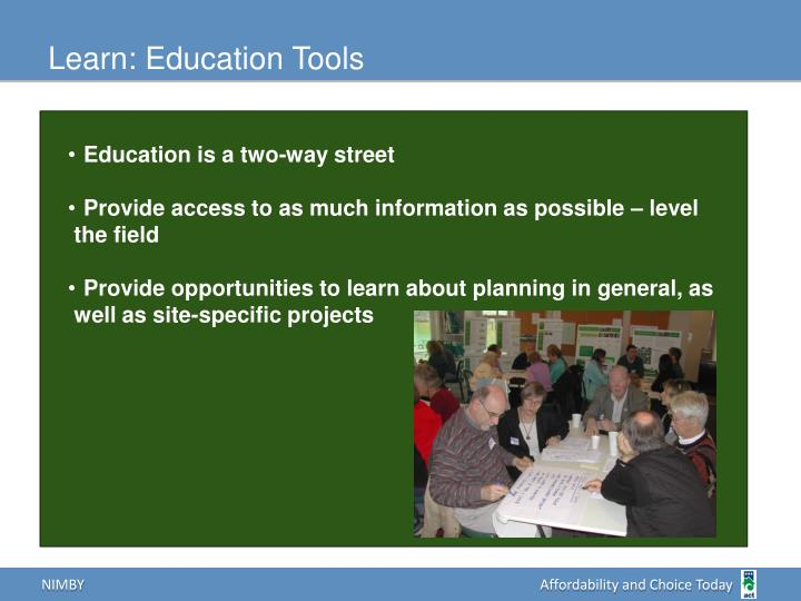 Learn: Education Tools