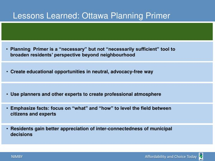 Lessons Learned: Ottawa Planning Primer