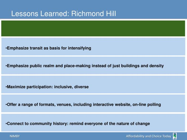 Lessons Learned: Richmond Hill
