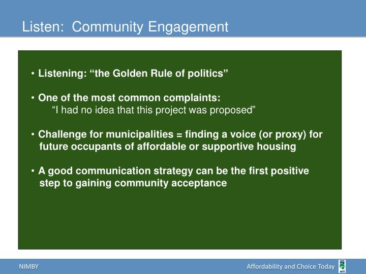 Listen:  Community Engagement