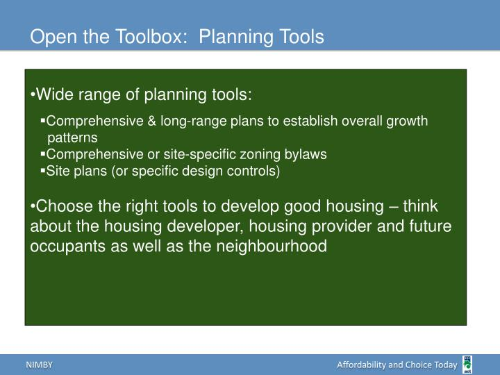 Open the Toolbox:  Planning Tools