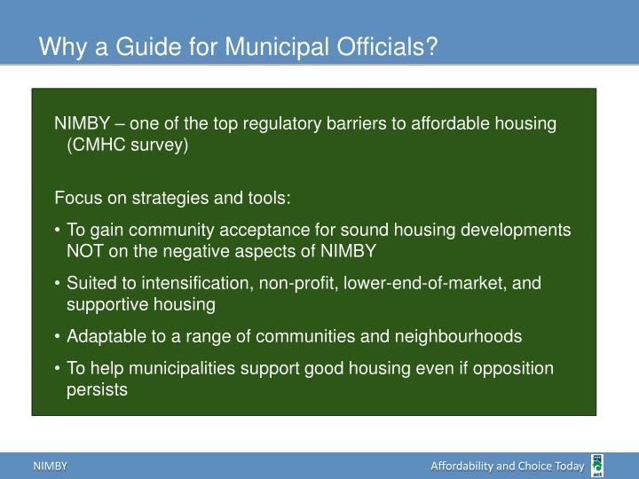 Why a Guide for Municipal Officials?