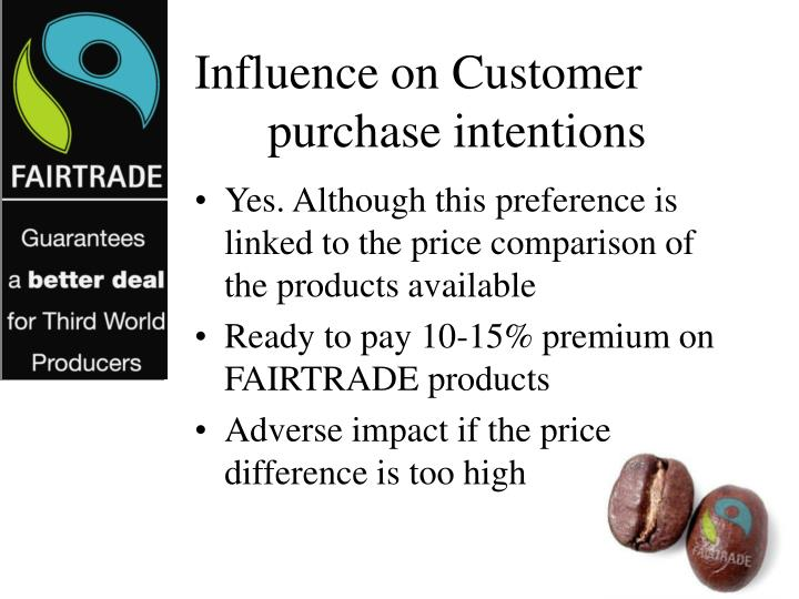 Influence on Customer purchase intentions