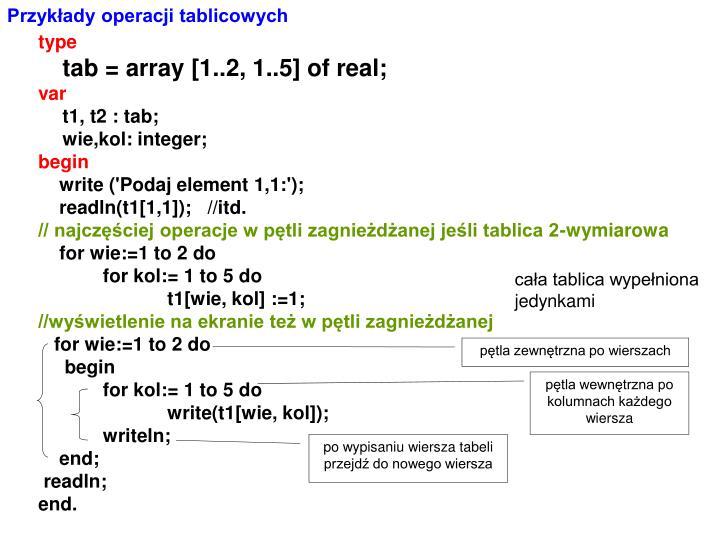 Przykłady operacji tablicowych