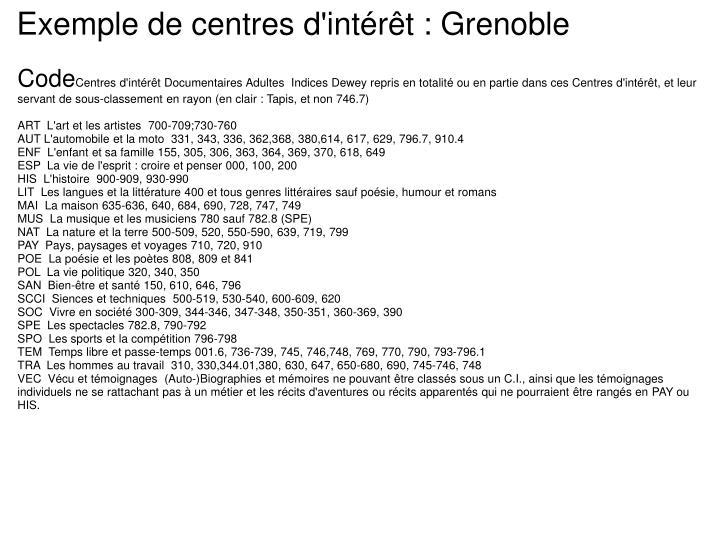 Exemple de centres d'intérêt : Grenoble