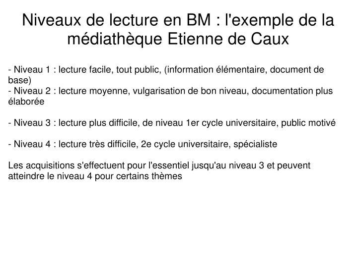 Niveaux de lecture en BM : l'exemple de la médiathèque Etienne de Caux