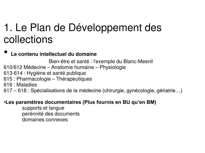 1. Le Plan de Développement des collections