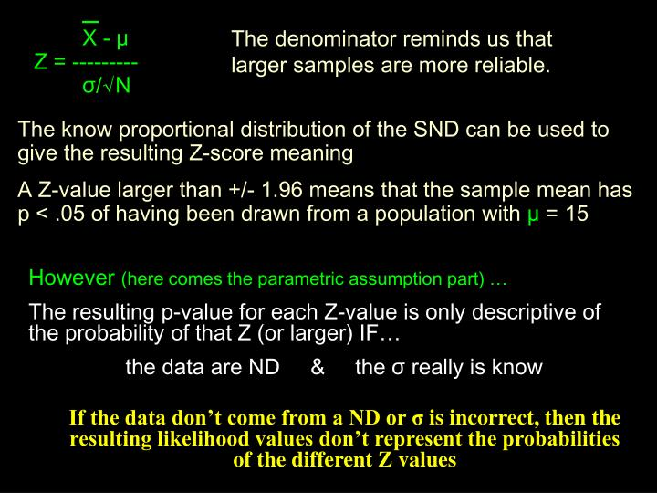 The denominator reminds us that larger samples are more reliable.