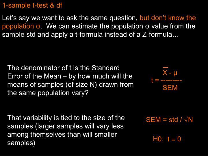 1-sample t-test & df