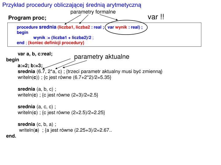 Przykład procedury obliczającej średnią arytmetyczną