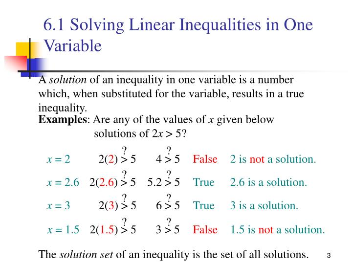 6 1 solving linear inequalities in one variable2