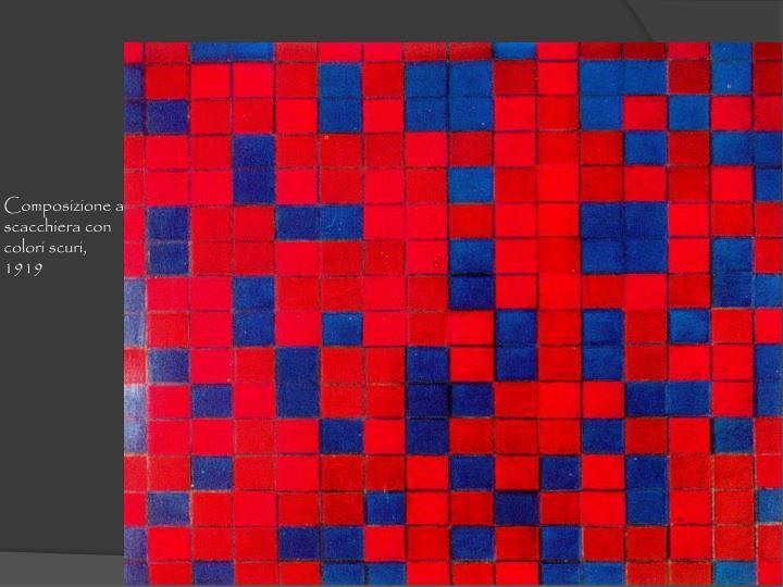 Composizione a scacchiera con colori scuri, 1919