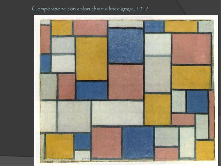 Composizione con colori chiari e linee grigie, 1918