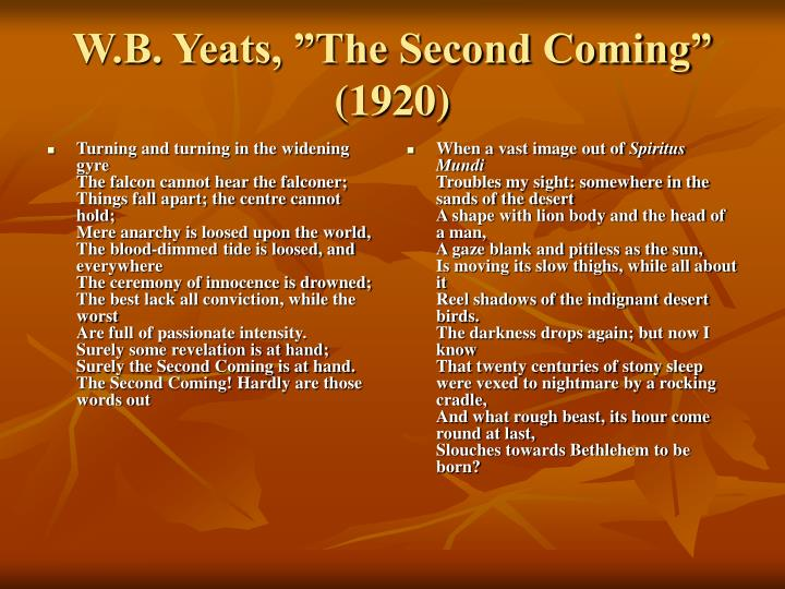 W b yeats the second coming 1920