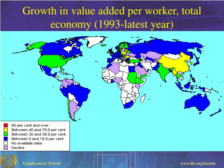 Growth in value added per worker, total economy (1993-latest year)