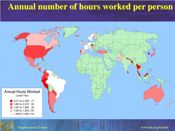 Annual number of hours worked per person