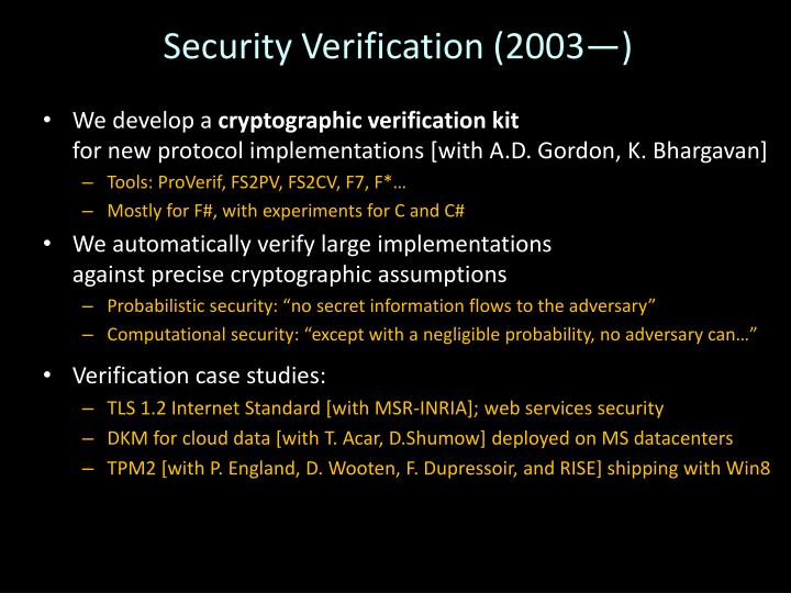 Security Verification (2003—)
