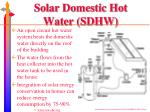 solar domestic hot water sdhw