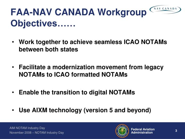 Faa nav canada workgroup objectives