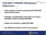 faa nav canada workgroup objectives