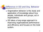 difference in od and org behavior