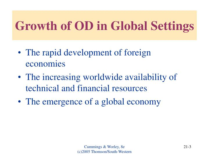 Growth of OD in Global Settings