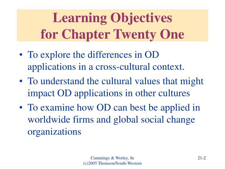 Learning objectives for chapter twenty one