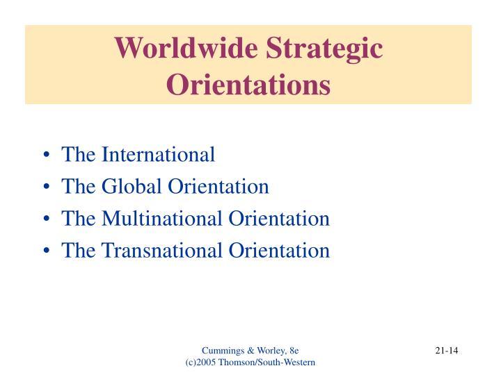 Worldwide Strategic Orientations