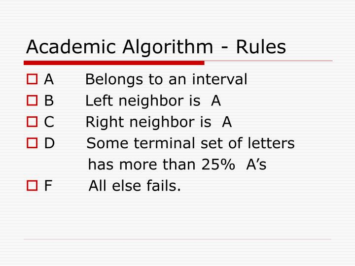 Academic Algorithm - Rules