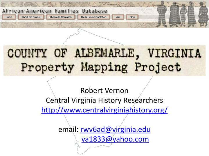 R obert vernon central virginia history researchers centralvirginiahistory
