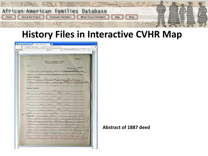 History Files in Interactive CVHR Map
