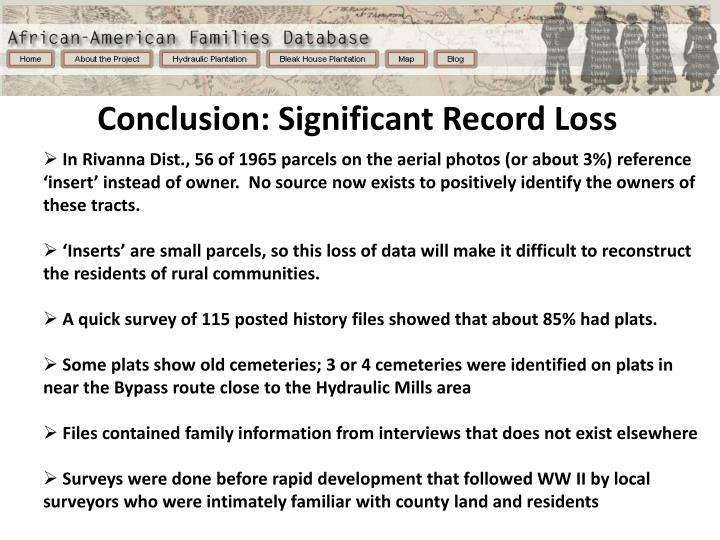 Conclusion: Significant Record Loss