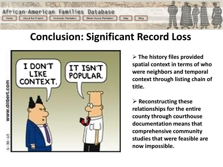 Conclusion: Significant Record Loss