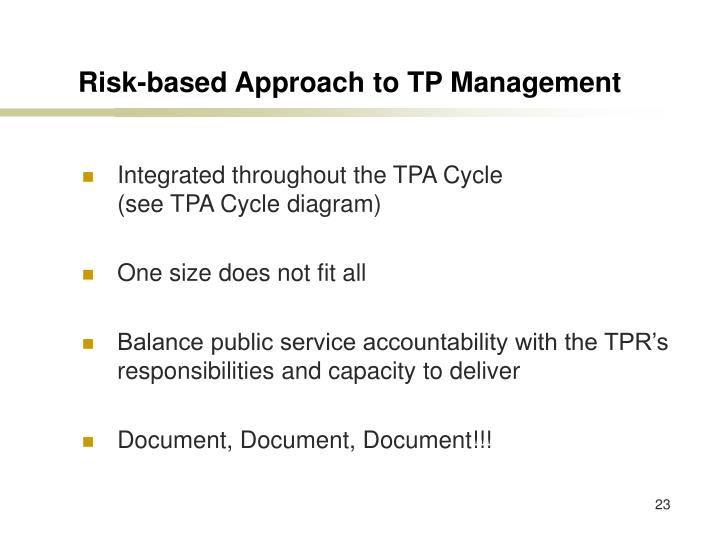 Risk-based Approach to TP Management